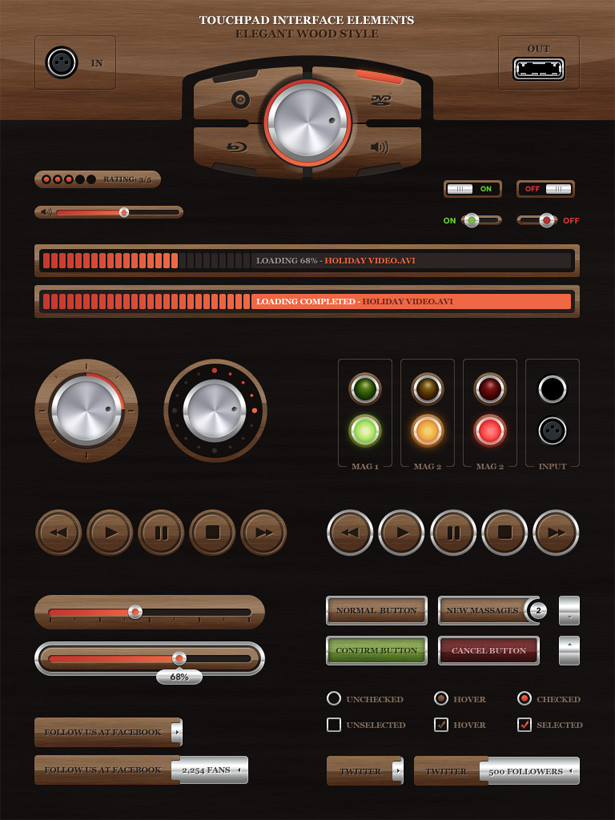 Touchpad UI - Wood Style