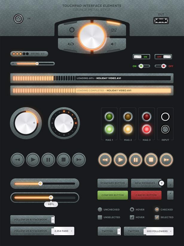 Touchpad UI - Grunge Metal Style