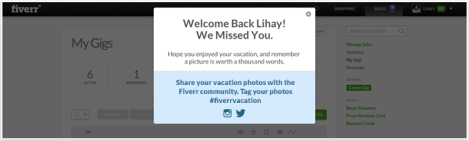 Vacation Mode - Welcome Back Screen