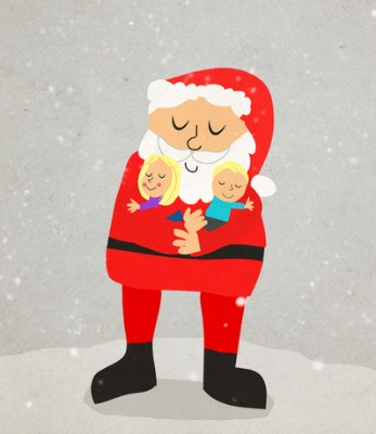 Custom Drawing with Your Child Hugging Santa
